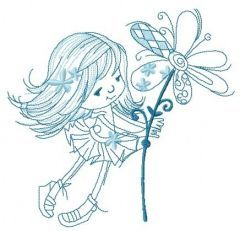 Tiny girl with magic flower sketch embroidery design