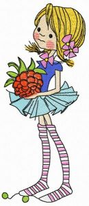 Tiny girl with raspberry embroidery design