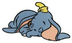 Tired Dumbo embroidery design