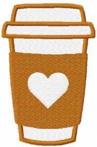 To Go Coffee Cup embroidery design