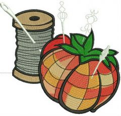 Tomato needle bed and threads embroidery design