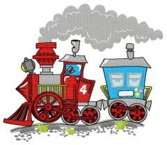 Train ride embroidery design