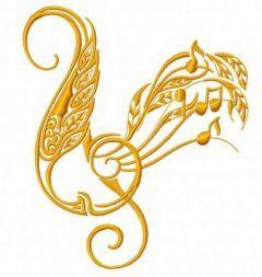 Treble clef embroidery design