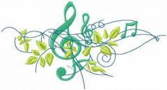 Treble clef with green leaves embroidery design