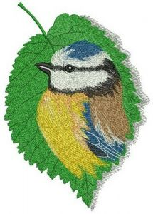 Tree leaf with birdie embroidery design
