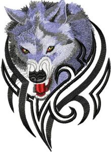 Tribal Wolf 9 embroidery design