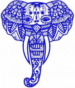 Tribal elephant embroidery design 2