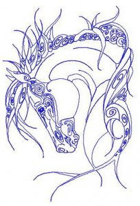 Tribal horse 3 embroidery design