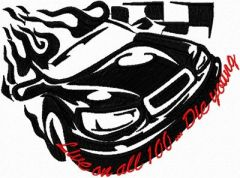 Tribal Racing - Live on all 100...Die Young embroidery design