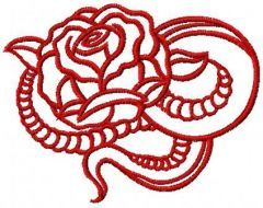 Tribal red rose free embroidery design
