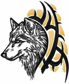 Tribal Wolf embroidery design