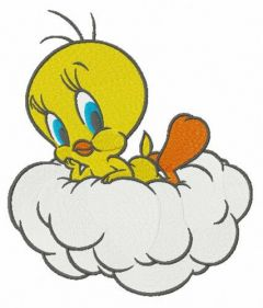 Tweety resting on cloud embroidery design
