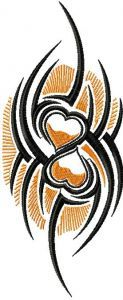 Tribal Two Hearts embroidery design