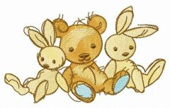Two bunnies and teddy bear embroidery design