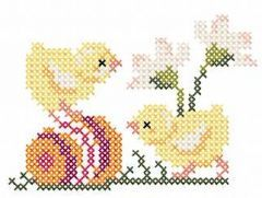 Two chickens  with egg cross stitch embroidery design