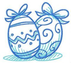Two Easter eggs embroidery design