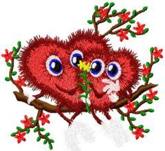 Two happy hearts embroidery design