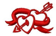 Two hearts and arrow embroidery design