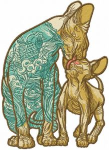 Cat and kitty cat sphynx embroidery design