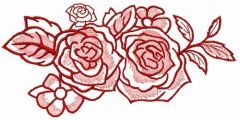 Two pink roses embroidery design