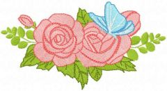 Two roses with butterfly embroidery design