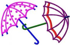 Two Umbrellas embroidery design