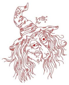 Ugly witch embroidery design 2