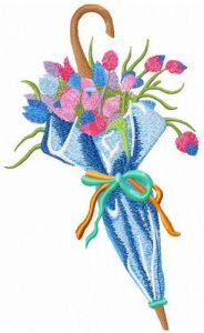 Umbrella with tulips embroidery design