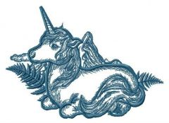 Unicorn and fern embroidery design