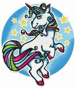 Unicorn's dance at night embroidery design