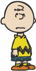 Upset Charlie brown embroidery design