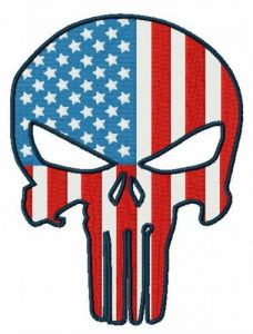 USA flag Punisher embroidery design