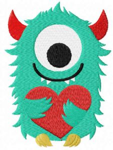 Valentine Monster free embroidery design