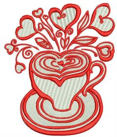 Valentine's cup embroidery design