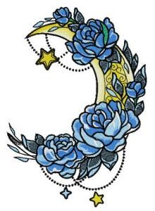 Vernal moon embroidery design