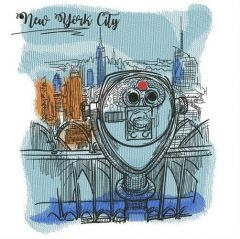 View of New York City embroidery design