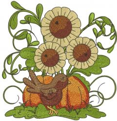 Vintage garden with sunflowers embroidery design