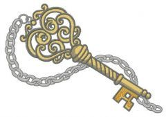 Vintage key embroidery design