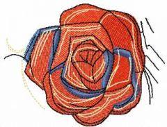 Vintage red rose embroidery design