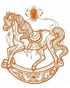 Vintage rocking horse embroidery design