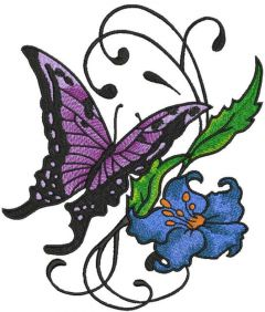 Vintage butterfly and flower embroidery design