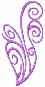 Swirl violet heart embroidery design