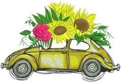 Volkswagen Beetle with sunflowers embroidery design