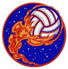 Volleyball ball in flame embroidery design