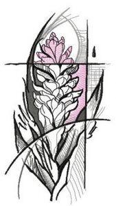 Vriesea embroidery design