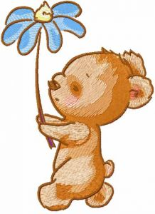 Walking Teddy with flower embroidery design