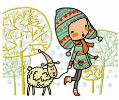 Walking with lamb 2 embroidery design
