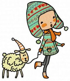 Walking with lamb 3 embroidery design