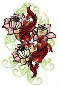 Water lilies and koi machine embroidery design 2