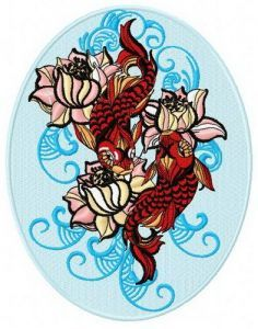 Water lilies and koi machine embroidery design